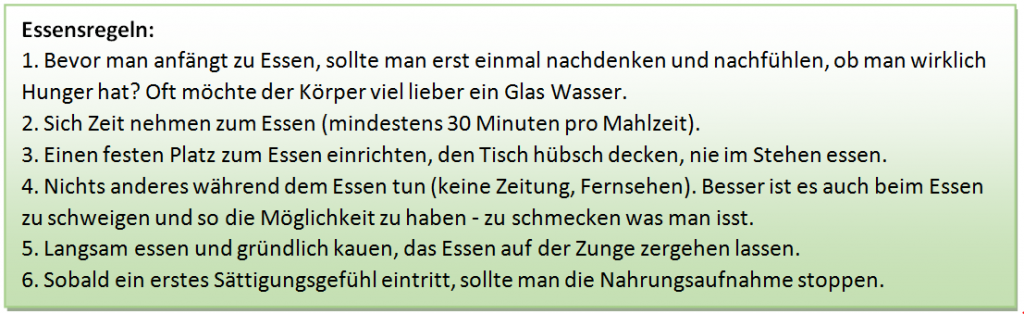 Psychotherapie Dresden Essensregeln
